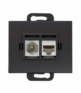 Onyx Gniazdo TV pojedyncze typu F + RJ45 komputerowe pojedyncze nieekranowane 6Cat TVF/F+RJ45/0 ANTRACYT Abex 9002692