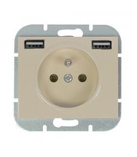 Onyx Gniazdo pojedyncze p/t 2p+Z 16A, 250V z ładowarką 2A, 5V , 2xUSB PT-16O/USB BEŻOWY Abex 9002637