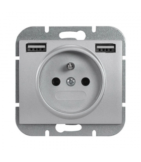Onyx Gniazdo pojedyncze p/t 2p+Z 16A, 250V z ładowarką 2A, 5V , 2xUSB PT-16O/USB SREBRNY Abex 9002638