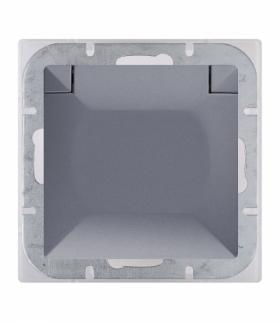 Perła Gniazdo wtyczkowe pojedyncze p/t 2p+Z 16A, 250V, bryzgoodporne z klapką w kolorze wyrobu (PH) PT-16PH ANTRACYT Abex 900020