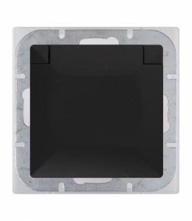 Perła Gniazdo wtyczkowe pojedyncze p/t 2p+Z 16A, 250V, bryzgoodporne z klapką w kolorze wyrobu (PH) PT-16PH CZARNY MAT Abex 9001