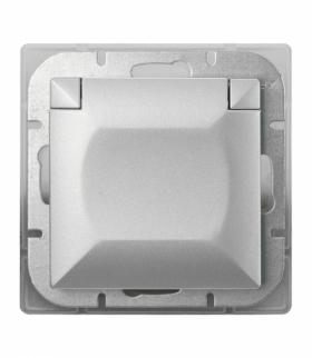 Perła Gniazdo wtyczkowe pojedyncze p/t 2p+Z 16A, 250V, bryzgoodporne z klapką w kolorze wyrobu (PH) PT-16PH SREBRNY Abex 9000202