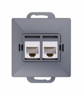 Perła Gniazdo RJ45 komputerowe podwójne nieekranowane 5Cat GTP-20P/M ANTRACYT Abex 9000278