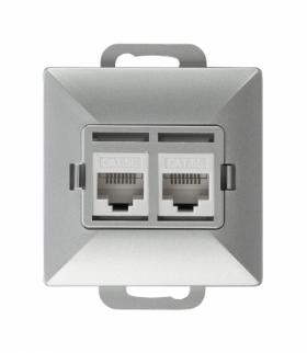 Perła Gniazdo RJ45 komputerowe podwójne nieekranowane 5Cat GTP-20P/M SREBRNY Abex 9000274