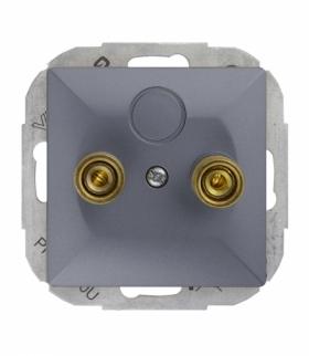 Perła Gniazdo głośnikowe pojedyncze (zaciski śrubowe,wtyki bananowe) PT-2PG ANTRACYT Abex 9000215