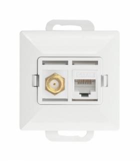 Perła Gniazdo tv pojedyncze typu F + RJ45 komputerowe pojedyncze nieekranowane 6Cat TV/F/F+RJ45 BIAŁY Abex 9002697