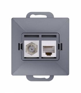 Perła Gniazdo tv pojedyncze typu F + RJ45 komputerowe pojedyncze nieekranowane 6Cat TV/F/F+RJ45 ANTRACYT Abex 9002701