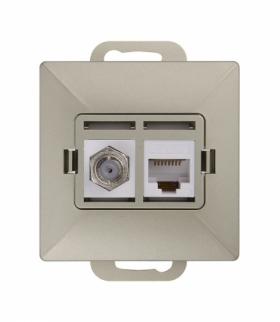 Perła Gniazdo tv pojedyncze typu F + RJ45 komputerowe pojedyncze nieekranowane 6Cat TV/F/F+RJ45 SATYNA Abex 9002700
