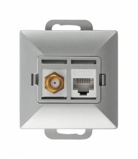 Perła Gniazdo tv pojedyncze typu F + RJ45 komputerowe pojedyncze nieekranowane 6Cat TV/F/F+RJ45 SREBRNY Abex 9002699