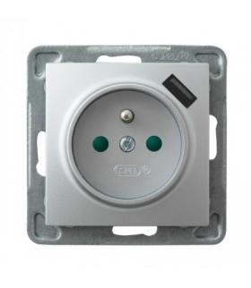 IMPRESJA GP-1YZPUSB/m/00 Gniazdo pojedyncze z uziemieniem z przesłonami torów prądowych, z ładowarką USB, SREBRO