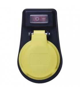 Socket with switch, IP44, black EMOS P00271