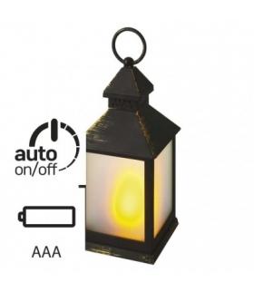 Lampion 12 LED mleczny, 24 cm, czarny, 3x AA, vintage, timer EMOS ZY2345