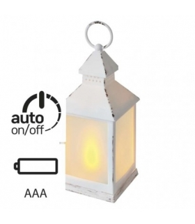 Lampion 12 LED mleczny, 24 cm, biały, 3x AA, vintage, timer EMOS ZY2346