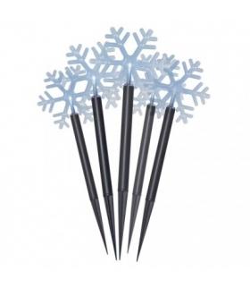 Dekoracja ogrodowa - 5 LED śnieżynki 30 cm IP44 CW, timer EMOS ZY2350