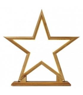 Dekoracje - 116 LED drewniana gwiazda 33 cm, IP20, WW EMOS ZY2359