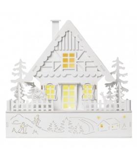 Dekoracje - 5 LED biały domek 30x28 cm, 2x AAA WW, timer EMOS ZY2318
