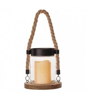 Lampion 1LED na sznurku, 3x AAA, szkło+drewno,vintage, timer EMOS ZY2340
