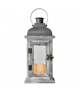 Lampion LED drewno świeczka szary 31cm 3x AAA, vintage,timer EMOS ZY2344