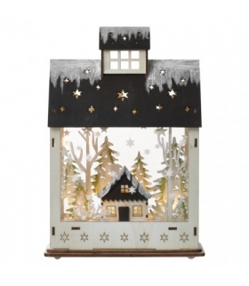 Dekoracje - 7 LED drewniany domek 20x30 cm, 2x AA WW, timer EMOS ZY2317
