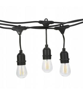 GIRLANDA OGRODOWA ŁAŃCUCH 10M E27 łączona do LED