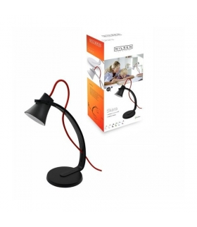 SKARA lampka biurkowa LED 3,2W czarna z czerwonym sznurem