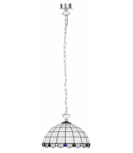 LAMPA WISZĄCA TIFFANY WHITE NIKIEL MAT 1X60W E27 Candellux 3479011-07