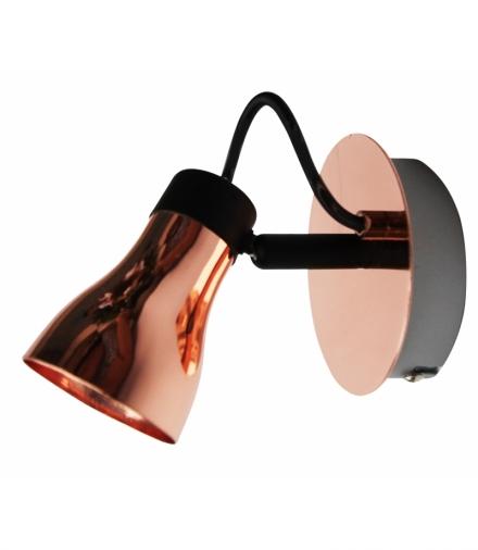 LAMPA ANGUS KINKIET 1X50W GU10 CZARNY+MIEDZIANY BEZ ŻARÓWKI Candellux 91-60518