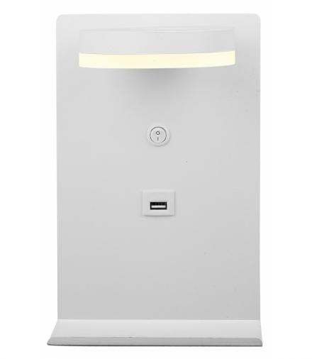 COMPACT LAMPA KINKIET 4W LED BIAŁY + ŁADOWARKA USB Candellux 21-76052