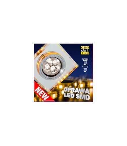 OPRAWA STROPOWA SS-22 CH/TR+AM GU10 50W+LED SMD 2,1W BURSZTYNOWY 230V CHROM STAŁ Candellux 2235226