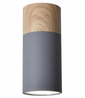TUBA LAMPA SUFITOWA 1X15W GU10 6,8/15 SZARY+DREWNO Candellux 2284279