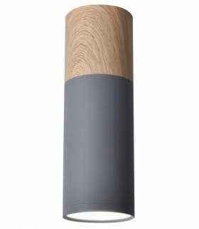 TUBA LAMPA SUFITOWA 1X15W GU10 6,8/20 SZARY+DREWNO Candellux 2284286