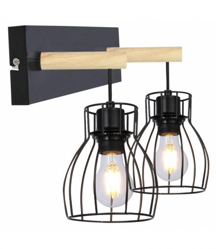 BERNITA LAMPA KINKIET 2X60W E27 CZARNY Candellux 22-77103