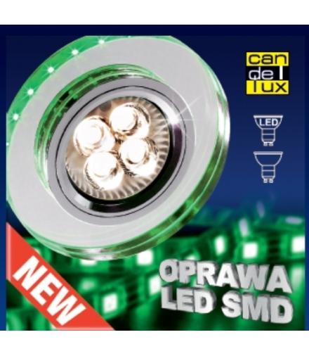 OPRAWA STROPOWA SS-23 CH/TR+GR GU10 50W+LED SMD 230V ZIELONY 2,1W CHROM STAŁA OK Candellux 2238265