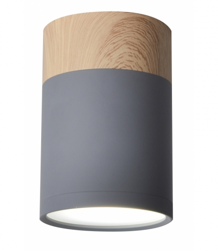 TUBA LAMPA SUFITOWA 1X15W GU10 6,8/10 SZARY+DREWNO Candellux 2284262