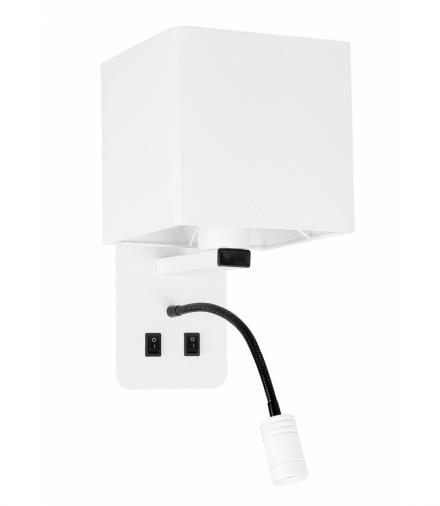 MAGNUM 2 LAMPA KINKIET PROSTOKĄTNY 1X40W E27+3W LED ABAŻUR KWADRAT BIAŁY Candellux 21-75666