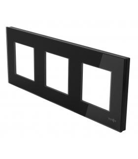 Ramka 3-krotna szklana, czarna