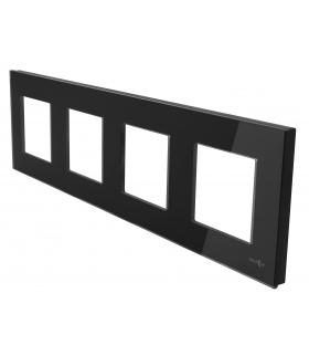 Ramka 4-krotna szklana, czarna