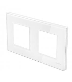 Ramka 2-krotna szklana, biała
