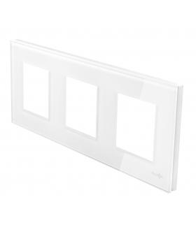 Ramka 3-krotna szklana, biała