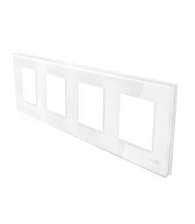 Ramka 4-krotna szklana, biała