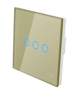 Duży panel szklany, łącznik potrójny, złoty
