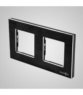 Ramka 2-krotna aluminiowa, czarna