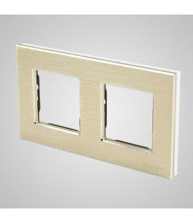 Ramka 2-krotna aluminiowa, złota