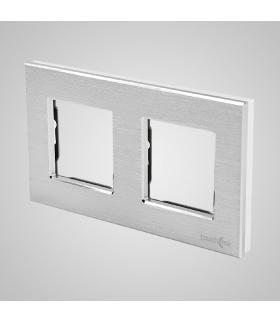 Ramka 2-krotna aluminiowa, srebrna