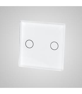 Mały panel szklany, łącznik podwójny, biały