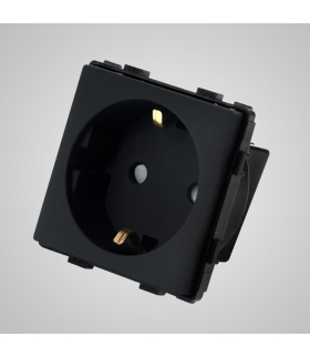 Gniazdo schuko, modułowe, czarne - Touchme
