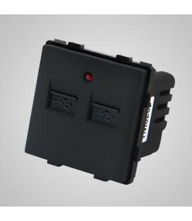 Gniazdo z 2 złączami USB, czarne  - Touchme