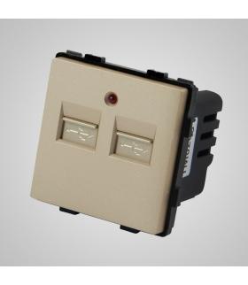 Gniazdo z 2 złączami USB, złote  - Touchme