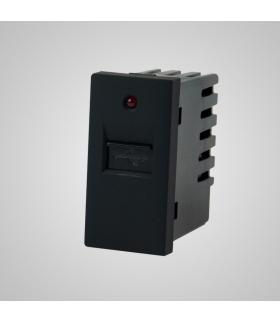 Moduł 1/2, gniazdo USB, czarne  - Touchme