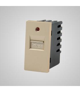 Moduł 1/2, gniazdo USB, złote  - Touchme